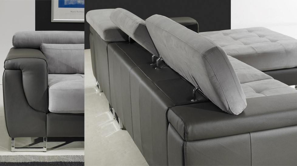 Canap d 39 angle droit cuir microfibre gris pas cher canap angle design - Canape d angle cuir et tissu ...