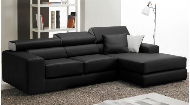 Canapé d'angle en cuir noir - Bréa