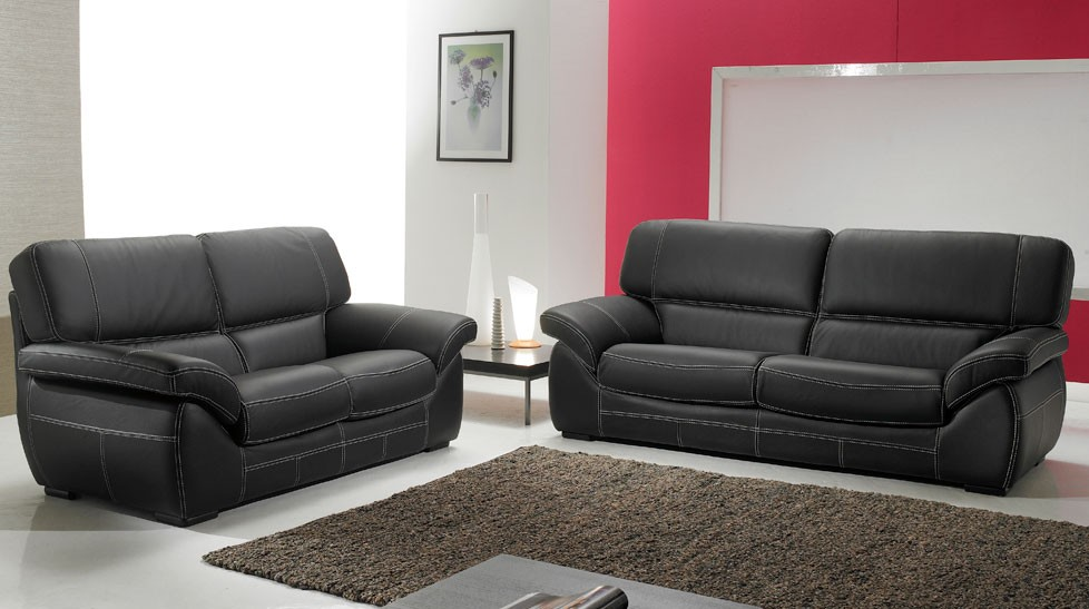 salon cuir 5 places noir pas cher canap 3 2. Black Bedroom Furniture Sets. Home Design Ideas