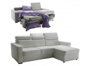 Canapé d'angle réversible et convertible cuir blanc 4P - Daniel