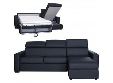 Canapé angle convertible cuir noir 4 places lit 120 cm - Daniel