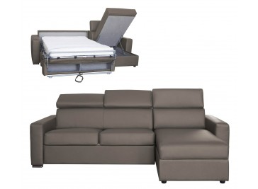 Canapé d'angle réversible et convertible cuir 5P lit 140 cm - Daniel