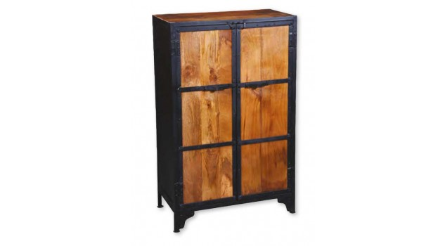 armoire acier 2 portes noire design industriel armoire. Black Bedroom Furniture Sets. Home Design Ideas