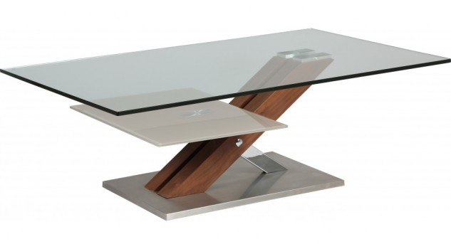 Table basse design verre trempé pied noyer