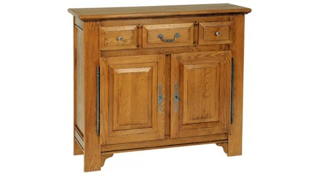 Meuble d'entrée chêne massif 3 tiroirs 1 porte