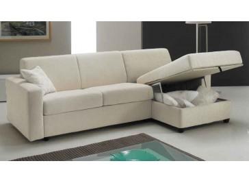 Canapé lit angle reversible couchage 120 cm tissu blanc cassé - Pisa