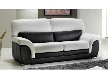 Canapé cuir noir et blanc 3 places prix usine