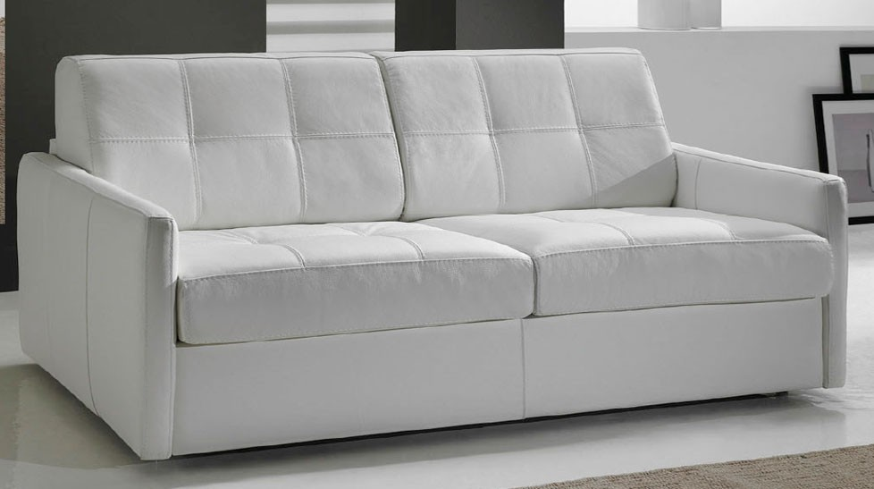 Canap convertible en cuir 3 places lit 140 cm for Canape lit cuir 3 places