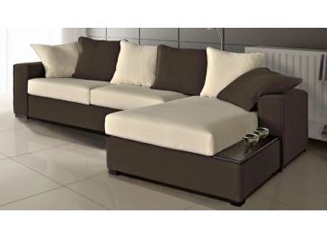 Canapé d'angle microfibre marron et blanc - Texas