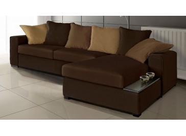 Canapé angle réversible marron beige tissu