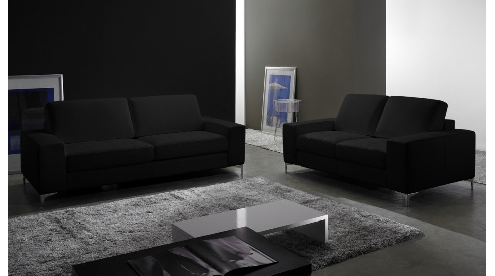 Canapé Places En Cuir Pas Cher Canapé Design - Canapé cuir noir design