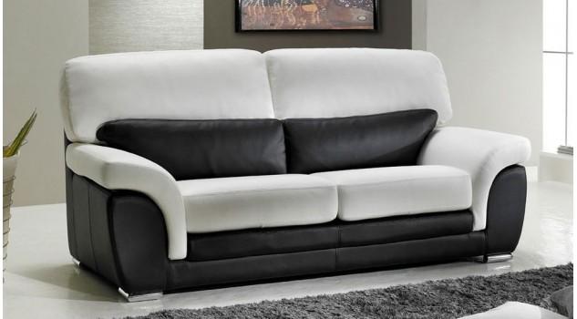 Canapé Places En Cuir Noir Et Blanc Pas Cher Canapé Design - Canapé cuir noir design