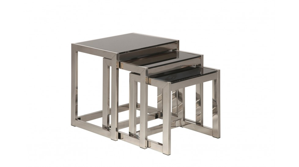 Ensemble de tables gigognes en inox et verre tremp noir mobilier design pa - Table verre et metal ...