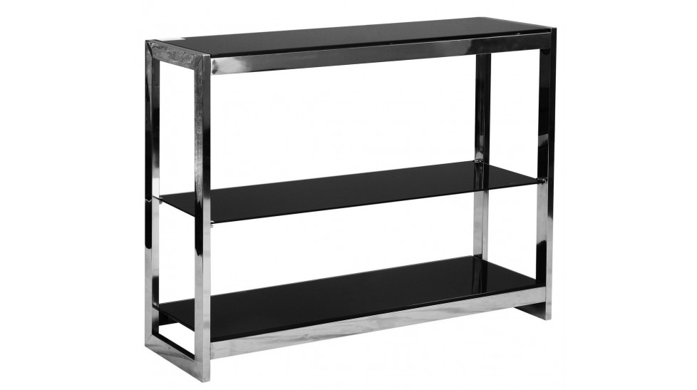 etag re 3 plateaux en inox et verre tremp teint noir. Black Bedroom Furniture Sets. Home Design Ideas