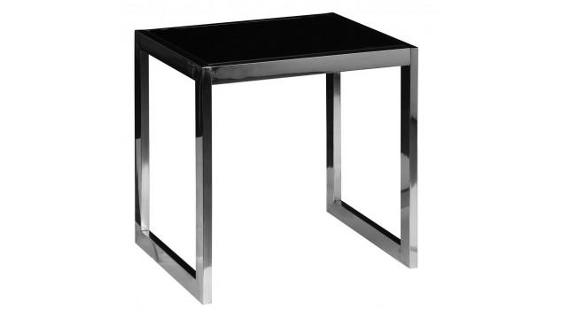 Bout de canap inox et verre tremp noir table d 39 appoint - Bout de verre dans le pied ...