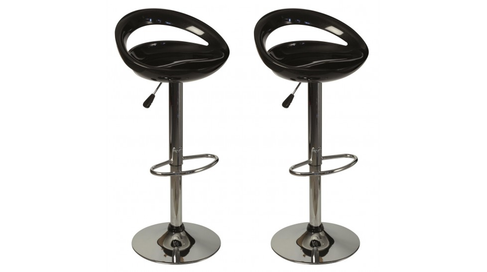 Lot de 2 tabourets de bar noir pas cher chaise design - Tabourets bar pas cher ...