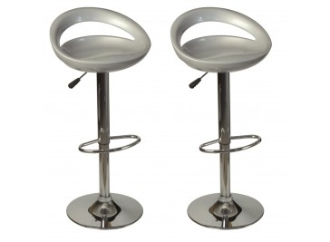 Lot de 2 tabourets de bar argent