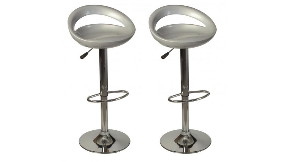lot de 2 tabourets de bar design tabourets argent pas cher. Black Bedroom Furniture Sets. Home Design Ideas