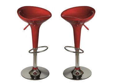 Lot de 2 tabourets de bar rouge laqué