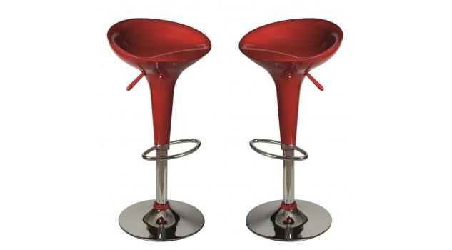 Lot de 2 tabourets de bar rouge tabouret design pas cher - Tabouret de bar rouge pas cher ...