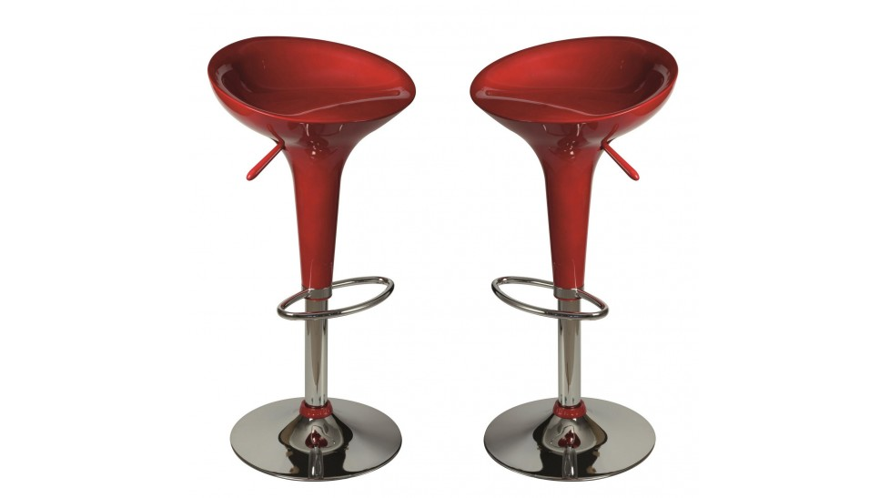 Lot de 2 tabourets de bar rouge tabouret design pas cher - Tabourets de bar rouge ...