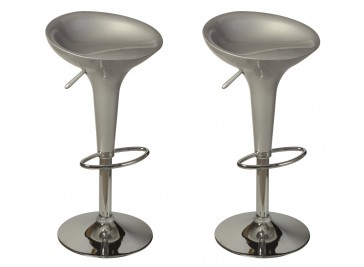 Lot de 2 tabourets de bar design argent