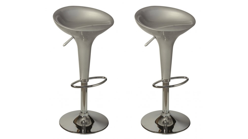lot de 2 tabourets de bar argent tabouret design pas cher. Black Bedroom Furniture Sets. Home Design Ideas