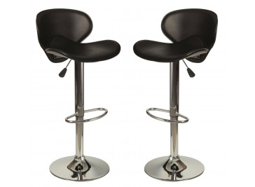 Lot de 2 tabourets de bar en simili cuir noir