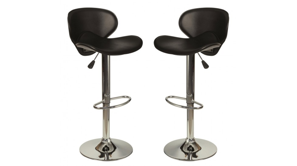 lot de 2 tabourets de bar en simili cuir noir tabouret. Black Bedroom Furniture Sets. Home Design Ideas