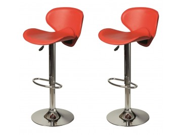 Lot de 2 tabourets de bar en simili cuir rouge