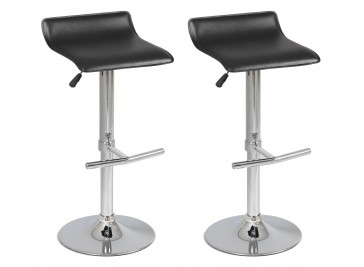 Tabouret de bar design simili cuir noir