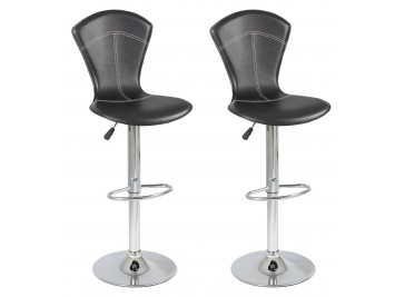 Lot de 2 tabourets de bar réglables simili cuir noir