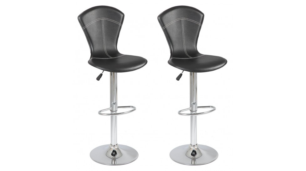 Lot de 2 tabourets de bar r glables pas cher tabouret design for Chaise cuir noir pas cher