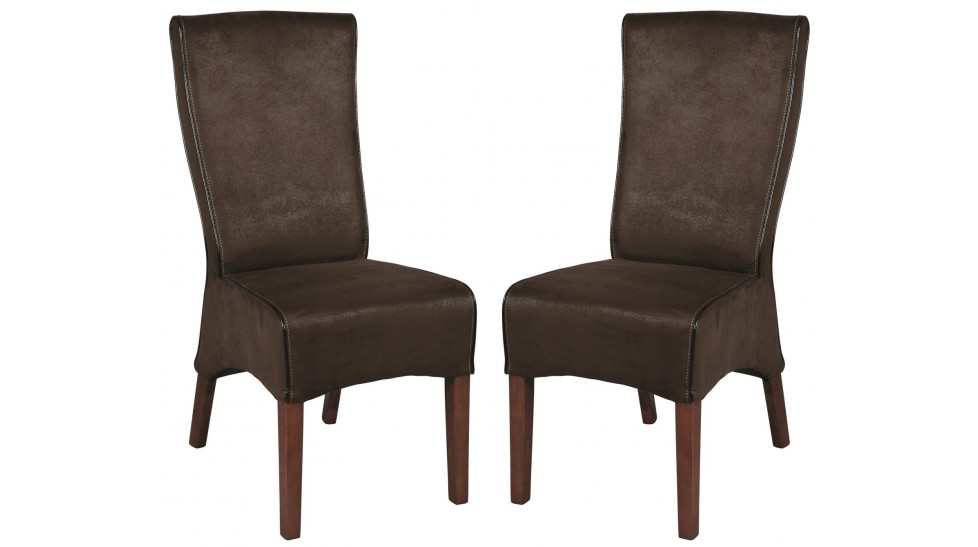 Lot de 2 chaises de salle manger microfibre marron for Chaise de salon grise