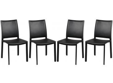 Chaises par lot de 4 en PVC noir
