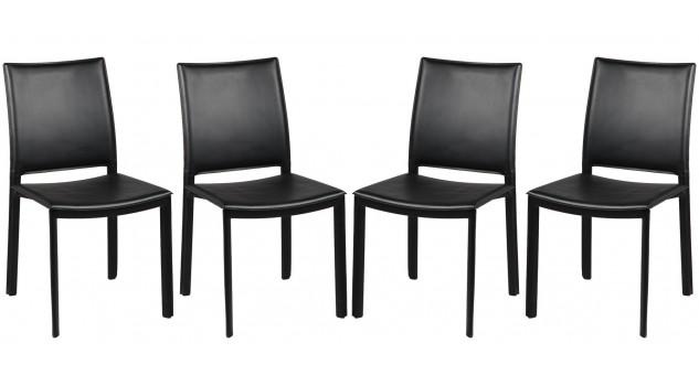 chaises en pvc noir design 4 chaises design pas cher. Black Bedroom Furniture Sets. Home Design Ideas