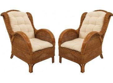 Fauteuils en rotin miel - Lot de 2 fauteuils rotin