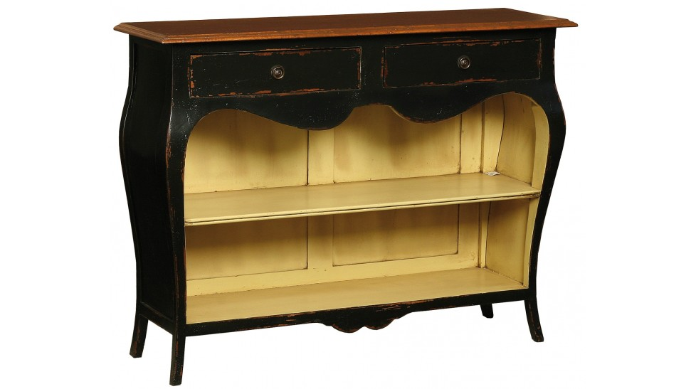 console noire vieillie avec 2 tag res de rangement console style r gence. Black Bedroom Furniture Sets. Home Design Ideas