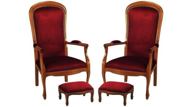 fauteuils voltaire en tissu velours bordeaux fauteuil de. Black Bedroom Furniture Sets. Home Design Ideas