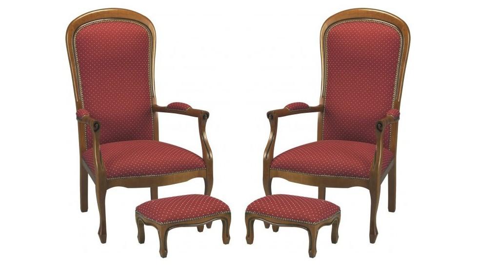 Lot de 2 fauteuils voltaire bordeaux points beiges - Fauteuil de bureau louis philippe ...