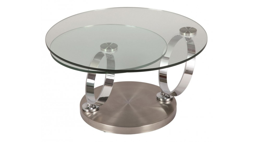 Table basse ronde en verre tremp et acier bross pas cher for Table de salon en verre ikea