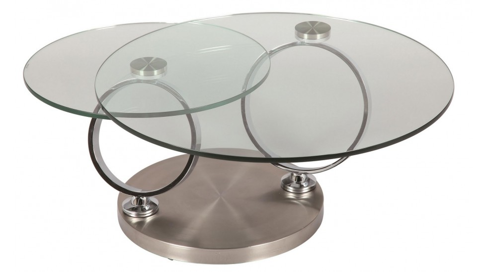 Table basse ronde en verre tremp et acier bross pas cher for Table basse en verre trempe