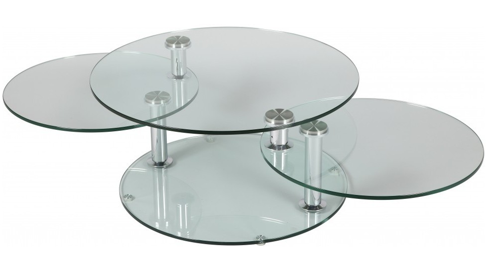 Grande table basse en verre ronde 3 plateaux table basse - Table ronde de salon ...