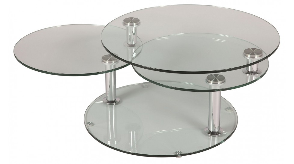 Grande table basse en verre ronde 3 plateaux table basse design en verre for Grande table de salon en verre