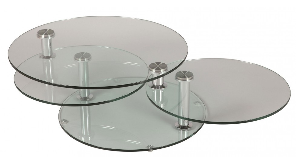 Grande table basse en verre ronde 3 plateaux table basse for Table basse salon en verre