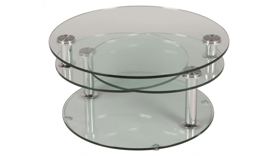 grande table basse en verre ronde 3 plateaux table basse. Black Bedroom Furniture Sets. Home Design Ideas