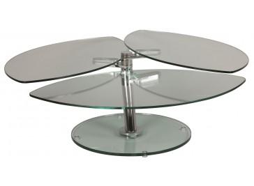 Table basse pétale 3 plateaux pivotants en verre