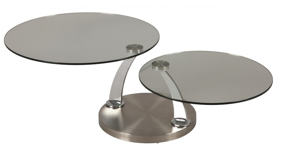 Table basse ronde double plateau en verre table basse de for Table en verre de salon