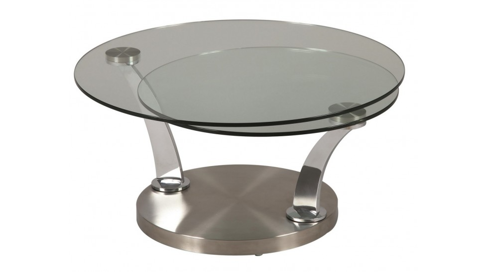 Table basse ronde double plateau en verre table basse de for Table de salon ronde en verre