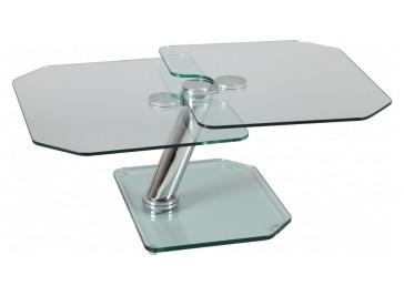 Table basse verre rectangulaire 2 plateaux pivotants